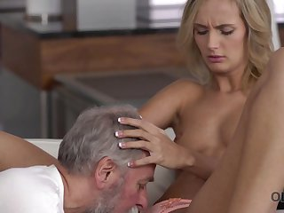 Old4K. Pater and his 18-year-old blond hair girl wife make remarkable love