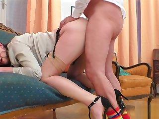 Stockings brit banged