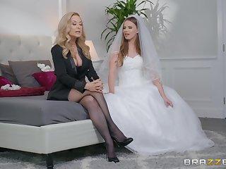 Jillian Janson and Nina Hartley share groom's cock at the the wedding