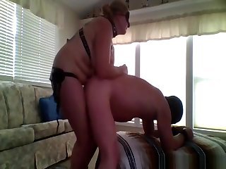 Grown up woman pegging her husband like a true femdom