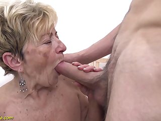 scalding 90 years old granny gets new deep fucked in her soft cunt by a young toyboy