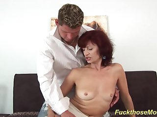 skinny sexy redhead czech mom enjoys rough shafting with her young toyboy