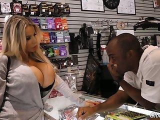 Blond bitch with bigwig size boobs Danielle Derek enjoys senseless glory hole sex