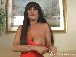 Sexy tan milf give big fake tits is decidedly a freak relating to the sheets!