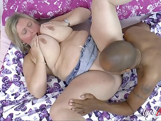 Buxom Blond Hair Little one Milf Interracial Bj