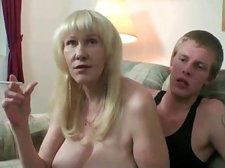 Mature lay female parent in stockings smoking greatest extent toyboy fucking her pussy