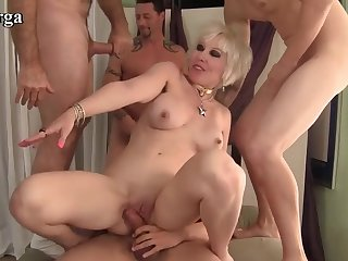 Horny mature women and load of shit hungry grannies get gangbanged by five men