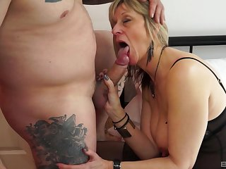 After a blowjob blonde milf can't wait to flood in a friend's cock
