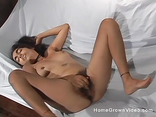 Hairy brunette masturbates using her crave fingers and imagination