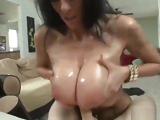 Classy buxomy experienced lady Alia Janine gives a classy blowjob