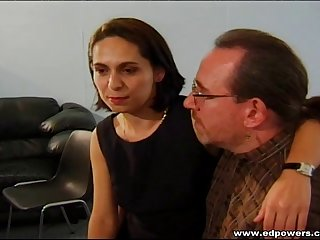 Guy with the glasses provides the sexy Cristina with a cowgirl ride