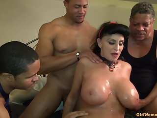 Elderly Mature Granny Goes Black-potty: Interracial gangbang with well-endowed GILF