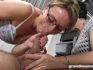 Mature mediocre grannies get down increased by dirty alongside one kinky guy