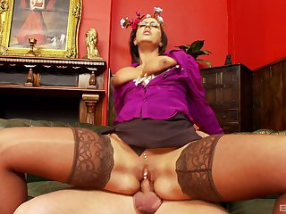 Milf gets all through the dick and rides redness about insane modes