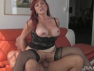 Lustful MILF prairie lingerie working a hard prick
