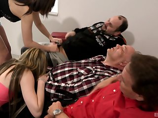 Grey men enjoying young broads sucking their dicks on cam