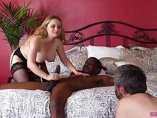 Busty blonde Aiden Starr ridding a long stranger's dick badly