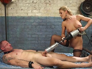 Cherie DeVille straps a dildo gag on him added to uses his face to realize off
