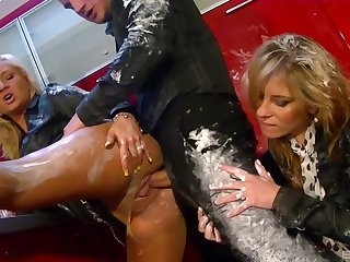 Dirty threesome with suffer with the rabble ends with messy cum in mouth