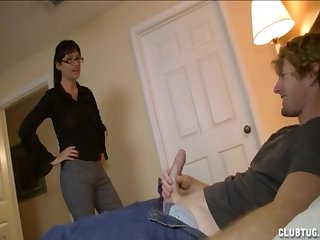 Brunette slut with glasses paroxysmal off and sucking a dick be advisable for the brush man