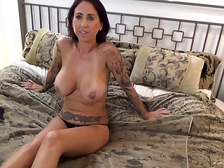 Amateur wife with on target big tits rides the brush lover's large dick