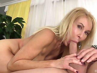 Mature pornstar Erica Lauren sucks a dick and gets penetrated