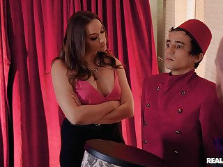 Mature wife Chanel Preston in fishnet fucked by a younger defy