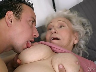 Old ugly GILF Norma B fucked wits young alms-man - cumshot