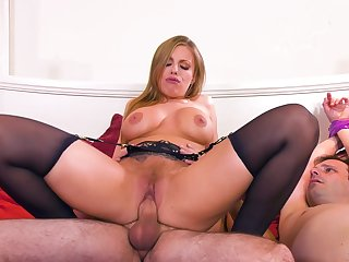 MILF rides the soul out be incumbent on this guy's cock all round brutal cuckold