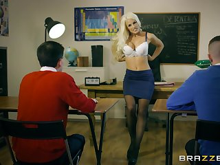 Young lads show their teacher the stroke threesome she ever had