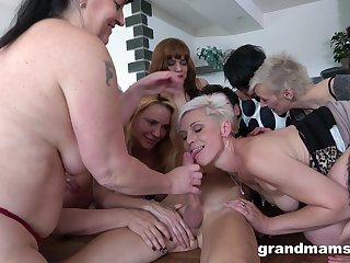Young man has a bevy of old, horny broads eager to get fucked hard