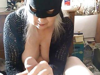 Closeup glaze of a destructive fat mature sucking a dick of her man