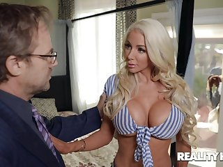 Busty blonde mature Nicolette Shea drops her threads for sexual congress