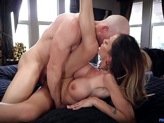 Bald dude sticks it in mommy's sopping cunt for a few rounds of hardcore