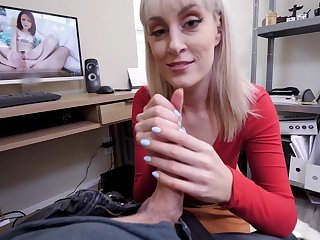 Sexy blonde MILF Maxim Show gives an assjob and sucks his cock