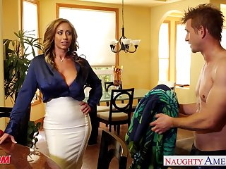 Friend's voluptuous MILF stepmom Eva Notty craving a young man's cock