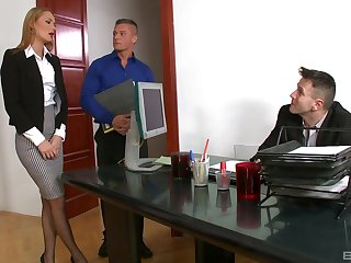 Office sob sister bangs with two members of the board