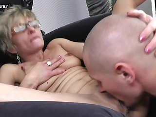Hot undernourished grandma gets fucked by her toy boy