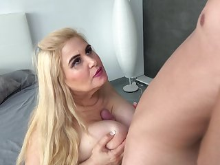 Mature blonde BBW Musa Libertina bent intemperance and pounded doggy style